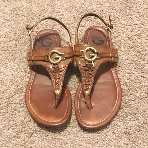 GUESS brown and gold sandals